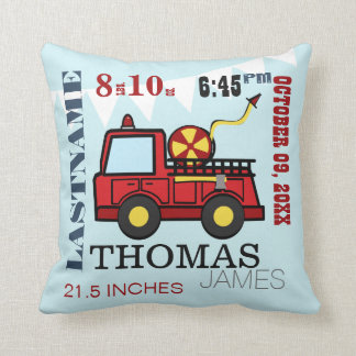 Baby Birth Stats Fire Truck Throw Pillow
