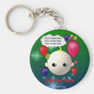 Baby Birthday Basic Round Button Keychain