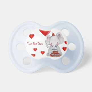Baby Birthday Elephant with Hearts Pacifier