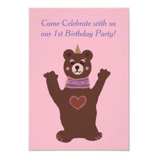 Baby Birthday invitation, bear Card