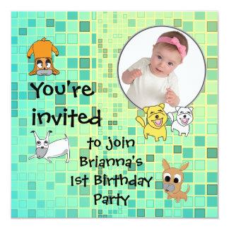 Baby Birthday Party Invitation Dog Cartoon