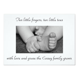 baby,black,and,white,feet,hands,photograph,big,... 5x7 paper invitation card