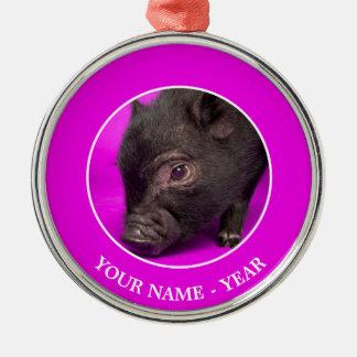 Baby Black Pig Metal Ornament