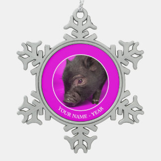 Baby Black Pig Snowflake Pewter Christmas Ornament