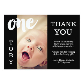 Baby Black & White 1st Birthday Thank You Card