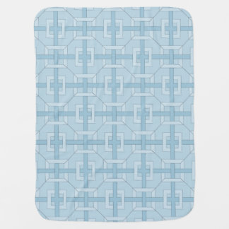 Baby Blanket - Interwoven Squares in Blue