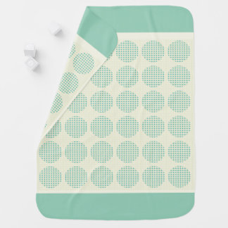 BABY-BLANKET-MOD-ACCENTS-TEAL-CREAM-Two-Sided Stroller Blanket
