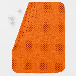 Baby Blanket Orange with Dark Blue Dots