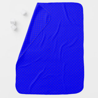 Baby Blanket Royal Blue with Orange Dots