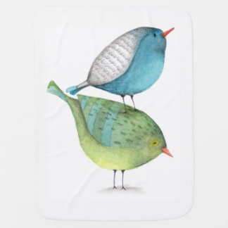 Baby Blanket Stacked Birds Coordinating Back