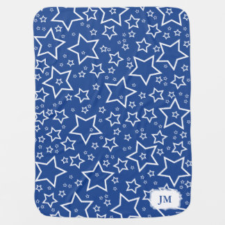 Baby Blanket with Stars Dark Blue and White