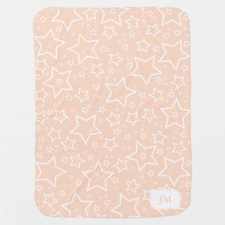 Baby Blanket with Stars Peach and White