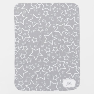 Baby Blanket with Stars | Silver and White