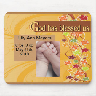 Baby Blessing Floral Vines Mouse Pad