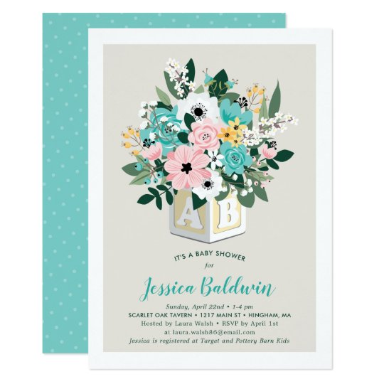 Baby block flower arrangement baby shower invitation zazzle baby block flower arrangement baby shower invitation filmwisefo