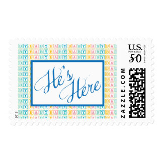 """Baby Block """"He's Here"""" Postage Stamp"""