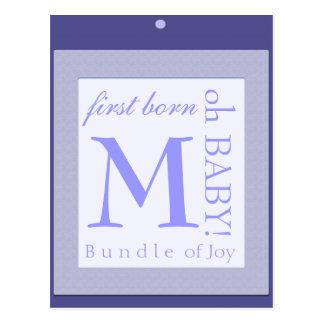 Baby block  initial shower decoration blue postcard