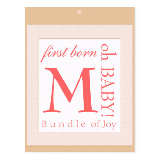 Baby block  initial shower decoration postcard