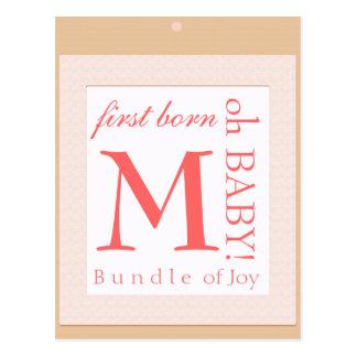 Baby block  initial shower decoration postcard