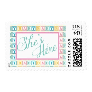 """Baby Block """"She's Here"""" Postage Stamp"""