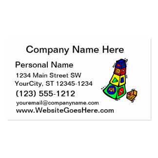baby block toy graphic square animals business card