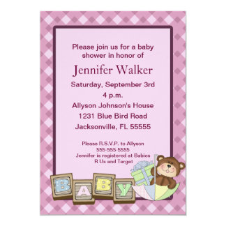 Baby Blocks Baby Shower - Pink Card