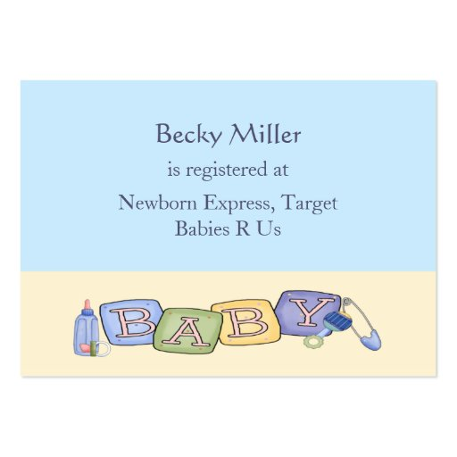 baby blocks baby shower registry cards large business