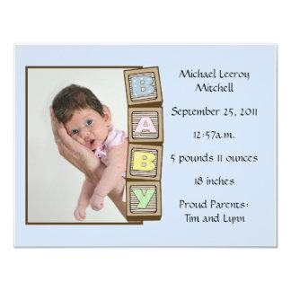 Baby Blocks Birth - Blue 4.25x5.5 Paper Invitation Card