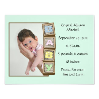 Baby Blocks Birth - Green 4.25x5.5 Paper Invitation Card