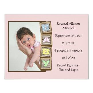 Baby Blocks Birth - Pink 4.25x5.5 Paper Invitation Card