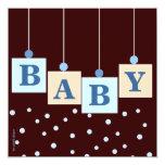BABY Blocks Blue Boy Baby Shower Custom Announcements