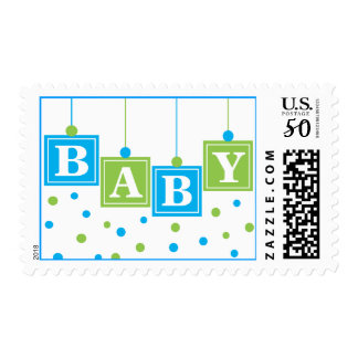 BABY Blocks Blue Green Baby Boy Postage