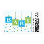 BABY Blocks Blue Green Baby Boy Postage Stamp