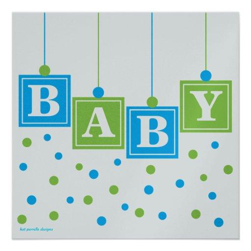 baby blocks blue green boy baby shower custom square invitation