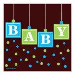 BABY Blocks Blue Green Boy Baby Shower Custom Invitation