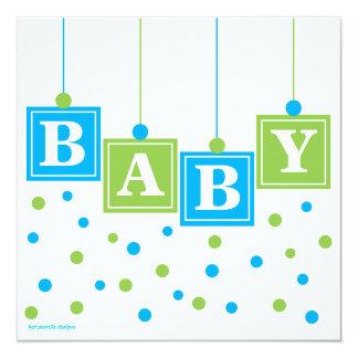 BABY Blocks Blue Green Boy Baby Shower 5.25x5.25 Square Paper Invitation Card