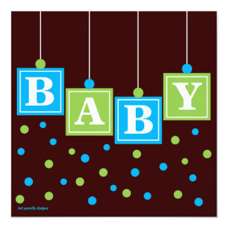 BABY Blocks Blue Green Boy Couples Baby Shower Card