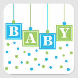 BABY Blocks Blue Green Boy Sticker