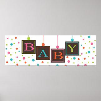 Baby Blocks Bright Color Polka Dot Banner Poster