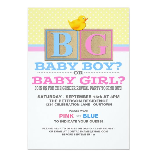 Baby Blocks Gender Reveal Party Invitation