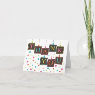 BABY Blocks in Bright Colors Thank You Card