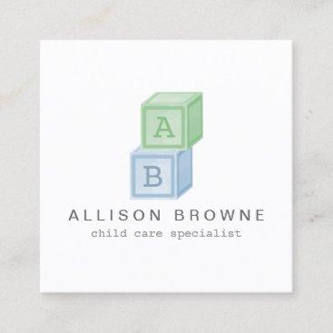 Baby Blocks Monogram Babysitter Green/Blue Square Business Card