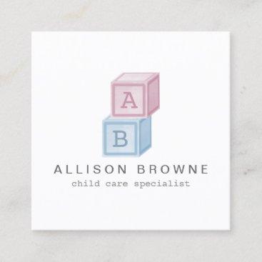 Baby Blocks Monogram Babysitter Pink/Blue Square Business Card