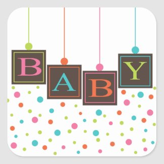 BABY Blocks of Bright Color Baby Shower Sticker