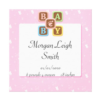 Baby Blocks on Pink Bunny Baby Poster Canvas Print
