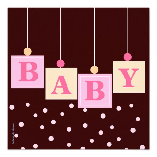 BABY Blocks Pink Girl Baby Shower 5.25x5.25 Square Paper ...