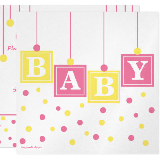 BABY Blocks Pink Yellow Girl Couples Baby Shower Card