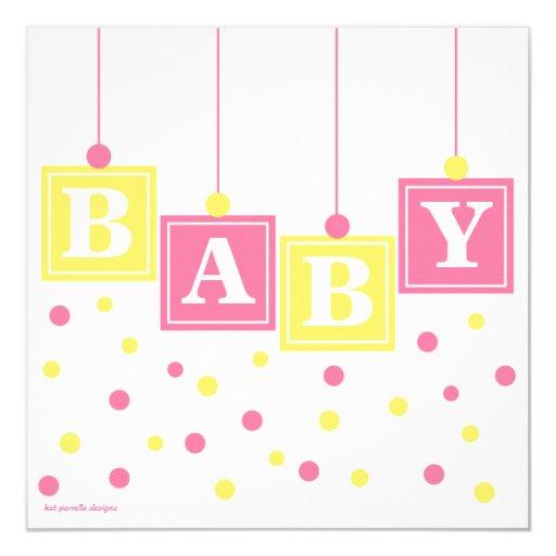 baby blocks pink yellow girl couples baby shower invitation