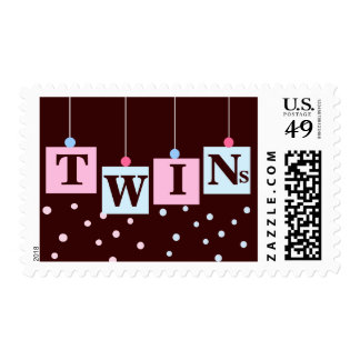 BABY Blocks Twin Pink and Blue Girl or Boy Postage