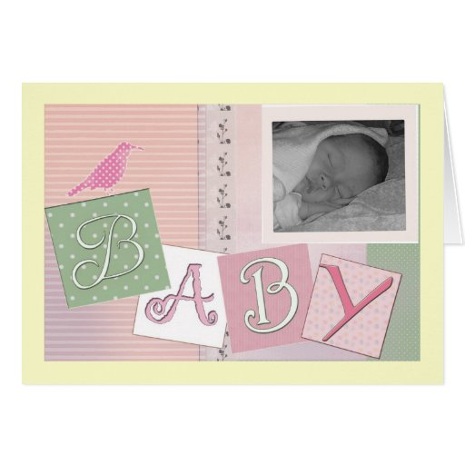 Baby blocks with bird - customize your own! greeting cards